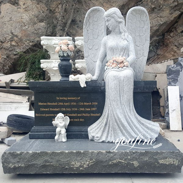 Natural Marble Sitting Angel Sculpture Tombstone for Sale MOKK-111