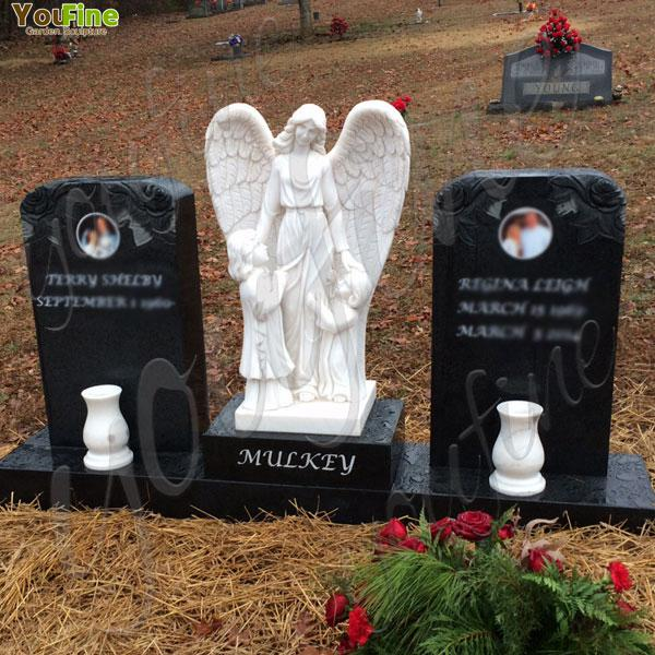 Standing Angel Sculpture Mother and children Headstone for Sale Mokk-113