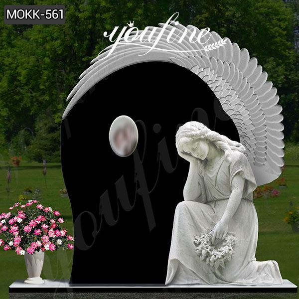 Black Granite Weeping Angel Tombstone for graves Supplier MOKK-561