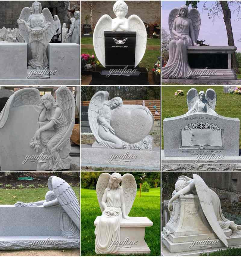 Marble Angel Memorial Headstones Supplier MOKK-655