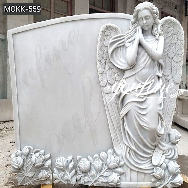Marble Angel Tombstone with Flower China Supplier MOKK-559