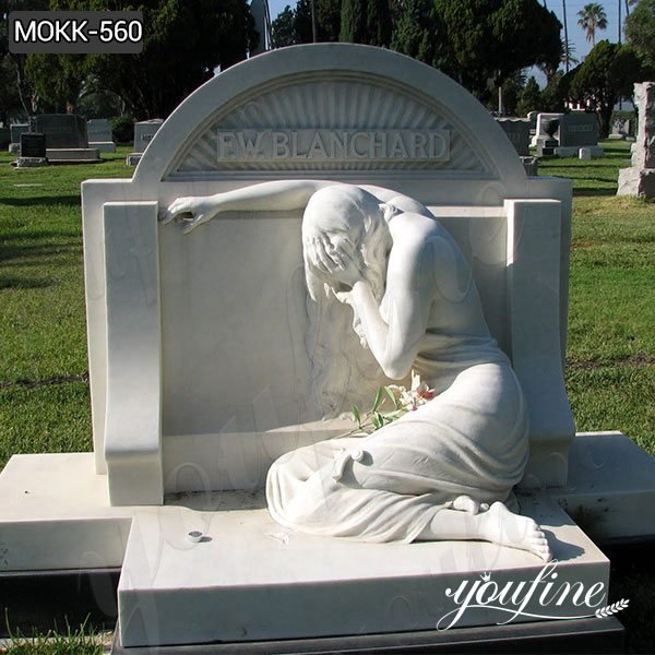Natural Marble Crying Angel Tombstone China Factory MOKK-560
