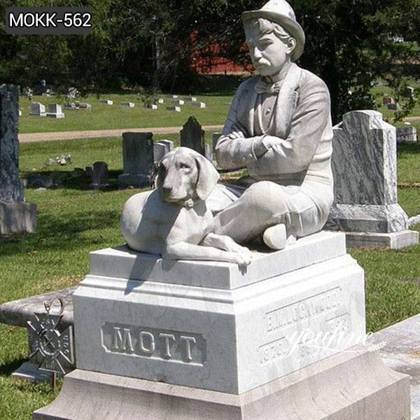 Marble Man with Dog Memorial Headstone for Sale MOKK-562