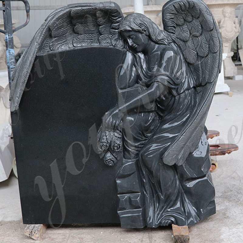 Black Granite Headstone Wepping Angel Statue Memorials for