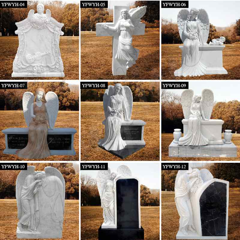 High Polished Marble Headstone with Angel Statue for 323