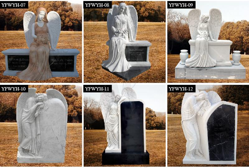 Natural Marble Angel Headstone monument for MOKK-569
