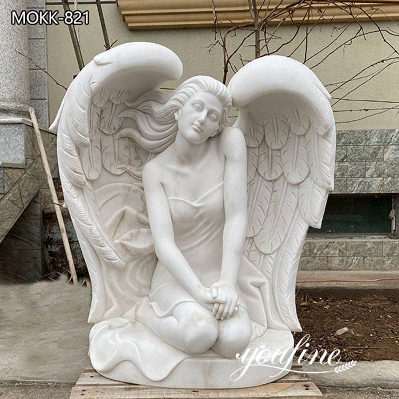 Marble Angel Sculpture Garden Kneeling Angel for Sale MOKK-821