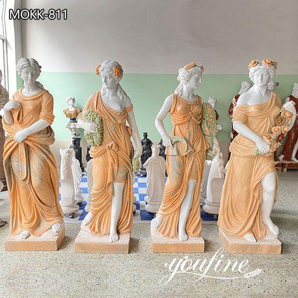 Cream Color Four Seasons Marble Statue for Garden for Sale MOKK-811