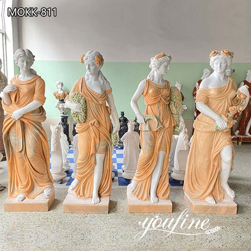 Life Size Cream Color Four Seasons Marble Statue for Garden for Sale