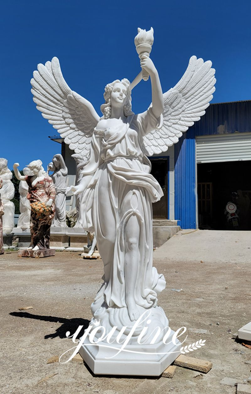 Marble Angel Statue Holding a Torch for Garden Decoration BOKK-847 (1)