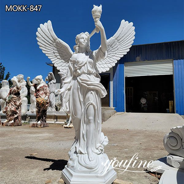 Marble Angel Statue Holding a Torch for Garden Decoration BOKK-847