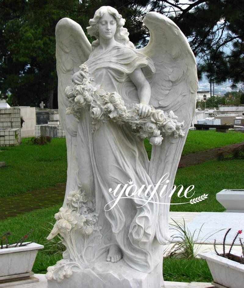 Marble bouquet Angel Statue Life Size for Sale MOKK-804 (1)