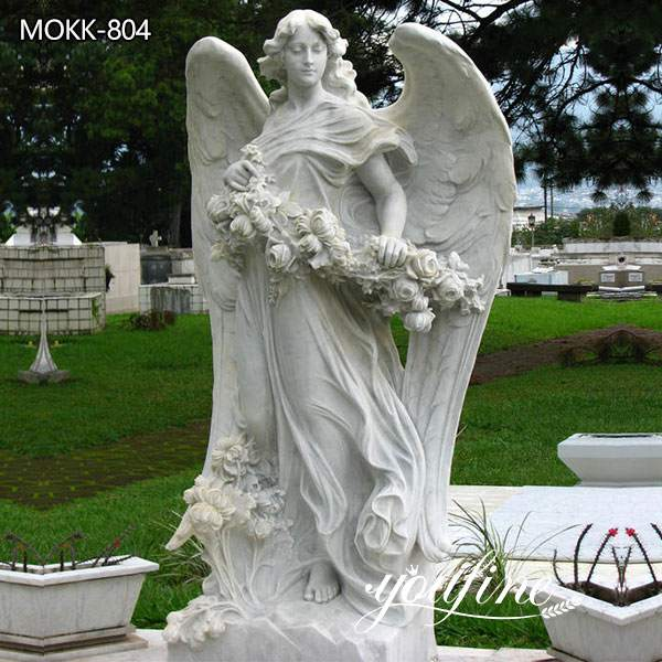 Marble bouquet Angel Statue Life Size for Sale MOKK-804