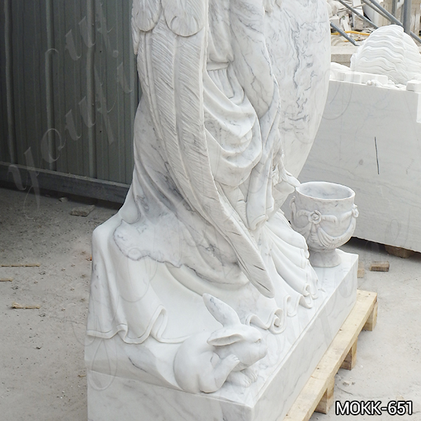 Carrara White Marble Angel Headstone for sale MOKK-651 (1)
